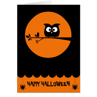Cute Halloween Owl + customised background colours Card