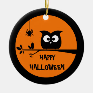 Cute Halloween Owl + customised background colours Ceramic Ornament