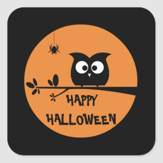 Cute Halloween Owl + customised background colours Square Sticker