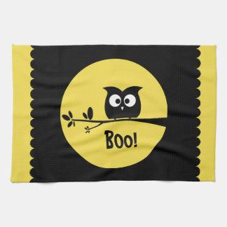 Cute Halloween Owl + customised background colours Tea Towel