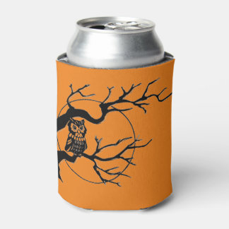 Cute Halloween Owl in Tree: Orange & Black Party Can Cooler