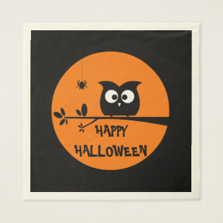 Cute Halloween Owl with customised Moon colours Paper Serviettes