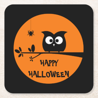 Cute Halloween Owl with customised Moon colours Square Paper Coaster