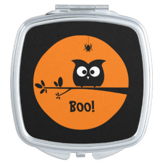 Cute Halloween Owl with customised Moon colours Travel Mirrors