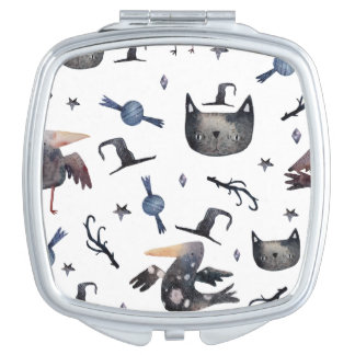 Cute Halloween Painted Patterns (Customizeable BG) Compact Mirror