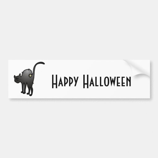 CUTE HALLOWEEN PATCHY CAT - BLACK KITTY BUMPER STICKER