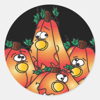 Cute Halloween Pumpkin Group Round Sticker