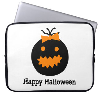 Cute Halloween pumpkin with bow Laptop Sleeve
