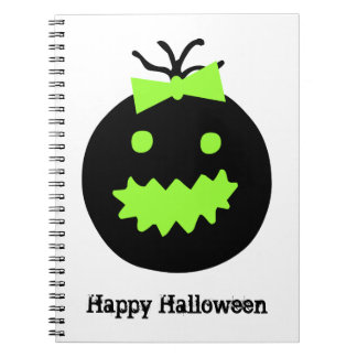 Cute Halloween pumpkin with bow Notebook