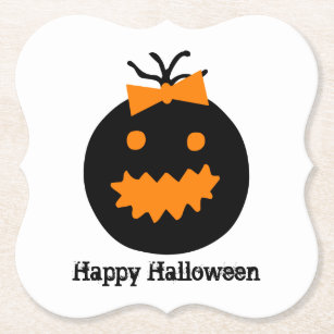 Cute Halloween pumpkin with bow Paper Coaster