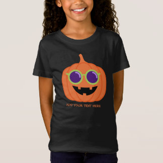 Cute Halloween Pumpkin with Hippie Glasses T-Shirt