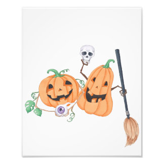 Cute Halloween Pumpkins Photo Print