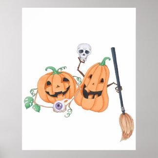 Cute Halloween Pumpkins Poster