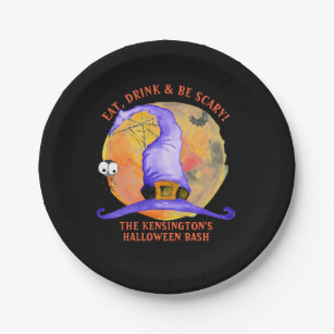 Cute Halloween Purple Witch Hat Spider Watercolor Paper Plate