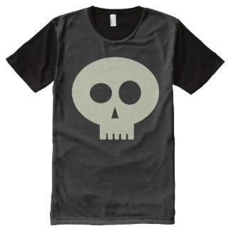 Cute Halloween Skeleton Skull Black T-Shirt, XXL All-Over Print T-Shirt