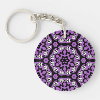 Cute Halloween skull kaleidoscope damask Double-Sided Round Acrylic Keychain