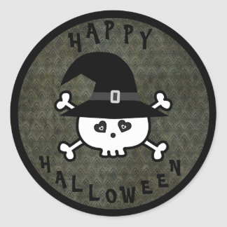 Cute Halloween Skull With Witches Hat Classic Round Sticker