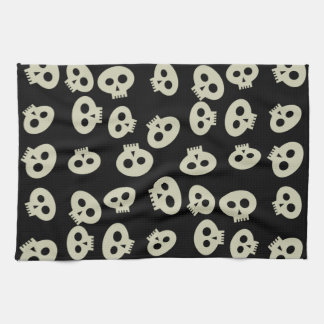 Cute Halloween Skulls Black Kitchen Towel