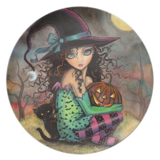 Cute Halloween Witch and Cat Art Party Plates