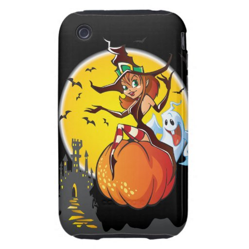 Cute Halloween Witch Tough iPhone 3 Cases