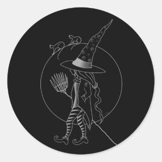 Cute Halloween Witch Classic Round Sticker