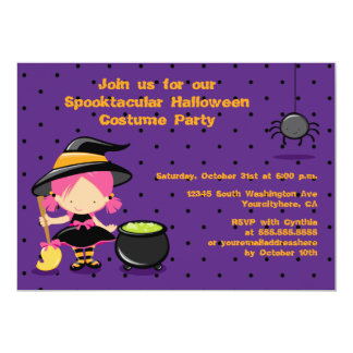 Cute Halloween witch costume party invitation