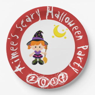 Cute Halloween Witch Girl Halloween Party Paper Plate
