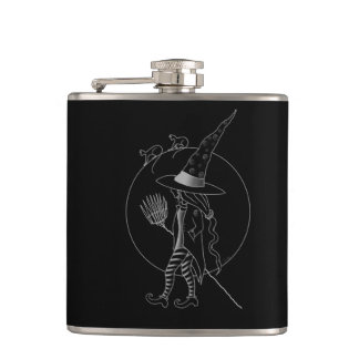 Cute Halloween Witch Hip Flask