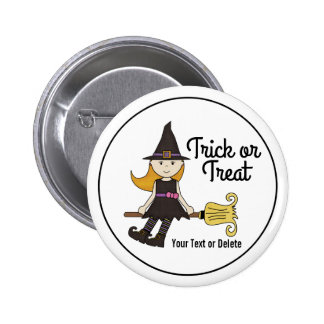 Cute Halloween Witch on Broom Stick Personalized 6 Cm Round Badge