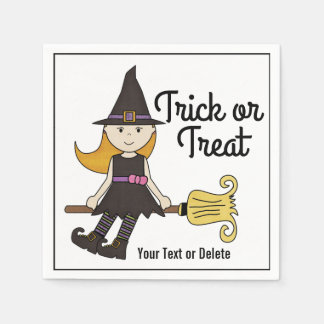 Cute Halloween Witch on Broom Stick Personalized Paper Napkins