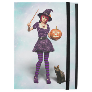 """Cute Halloween Witch with Black Cat and Pumpkin iPad Pro 12.9"""" Case"""