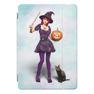 Cute Halloween Witch with Black Cat and Pumpkin iPad Pro Cover