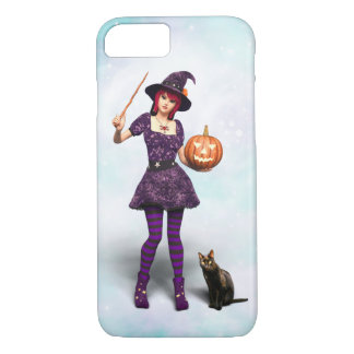 Cute Halloween Witch with Black Cat and Pumpkin iPhone 8/7 Case