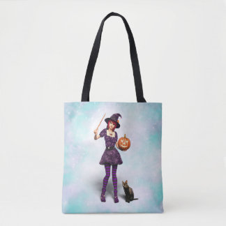Cute Halloween Witch with Black Cat and Pumpkin Tote Bag