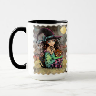 Cute Halloween Witch with Black Cat Mug