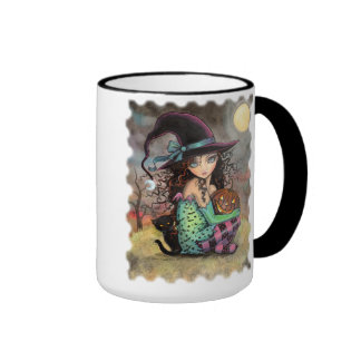 Cute Halloween Witch with Black Cat Ringer Mug