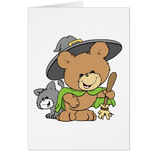 cute halloween witch with black cat teddy bear des card