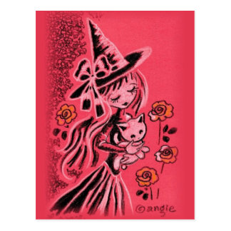 Cute Halloween Witch With Kitten Postcard