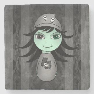 Cute Halloween zombie girl Stone Beverage Coaster
