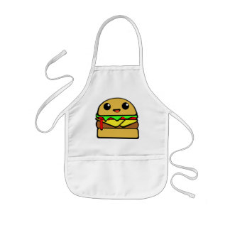 Cute Hamburger Character Kids' Apron
