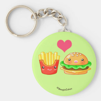 Cute Hamburger & Fries Button Keychain