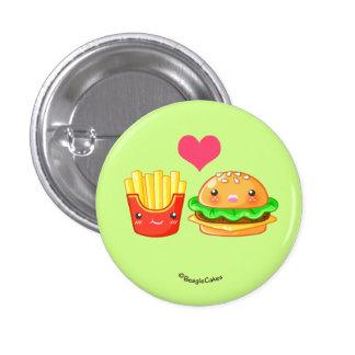 Cute Hamburger & Fries Pinback Button