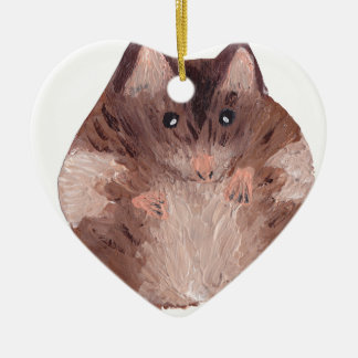 Cute Hamster Ceramic Heart Decoration