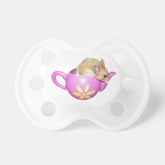 Cute Hamster in a Pink Teapot Photo Baby Pacifier