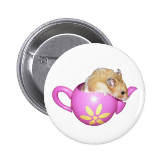 Cute Hamster in a Pink Teapot Photo Button
