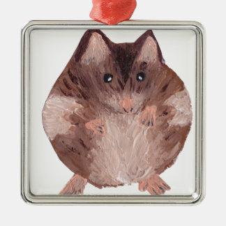 Cute Hamster Silver-Colored Square Decoration