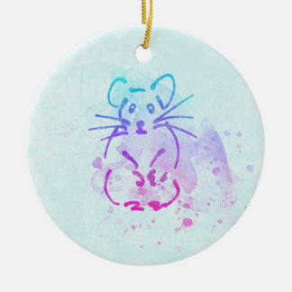 Cute Hamster Sketch - Personalize Text on Back of Ceramic Ornament