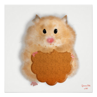 Cute hamster with biscuit art Illustration. Poster