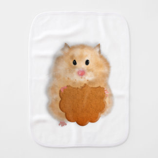 Cute hamster with biscuit illustration gift burp cloth