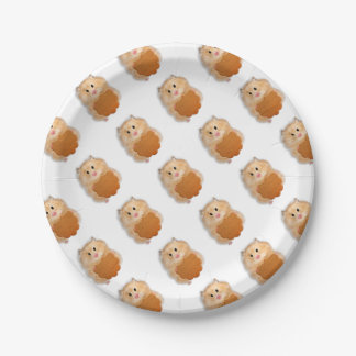 Cute hamster with biscuit illustration gift paper plate